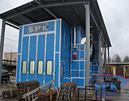 Покрасочно сушильный комплекс для металлоконструкций (Уличная установка) SPK-15.6.5. вытяжка через пол.