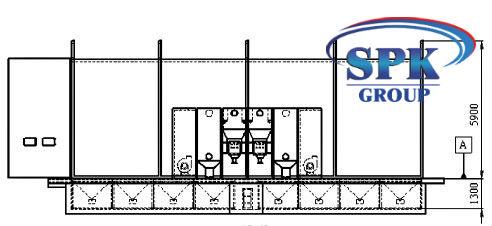Обитаемая дробеструйная камера с фасеточным полом тупикового типа SPK-15.5.5