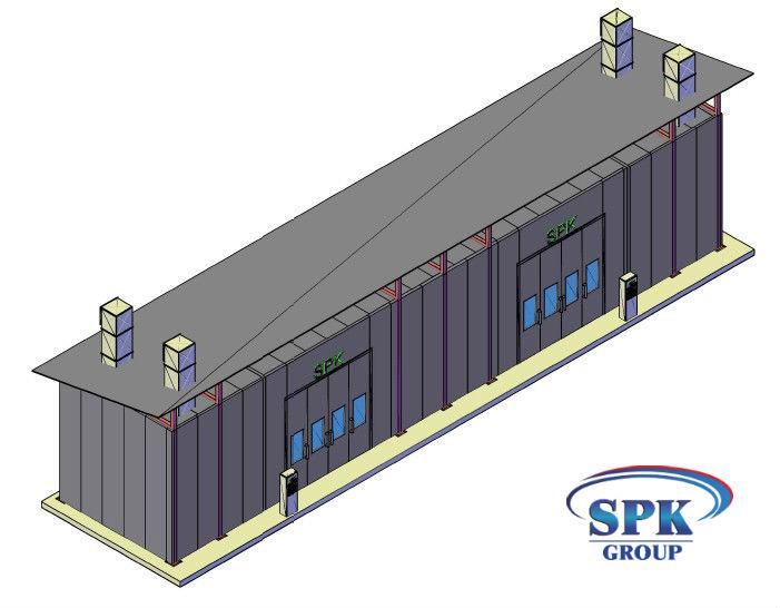 Окрасочно сушильная камера уличного типа пристроенная к существующему зданию SPK-17.5.5