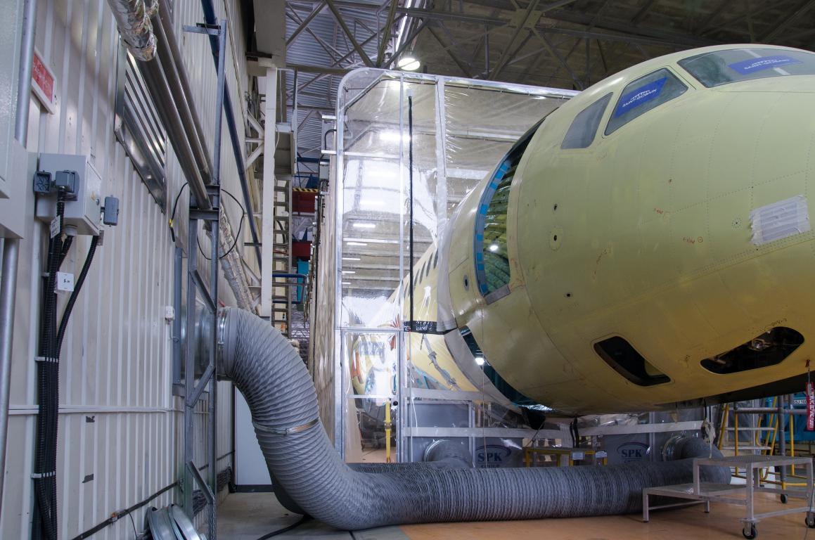 Телескопическая камера для окраски самолетов гражданской авиации, г. Комсомольск-на-Амуре