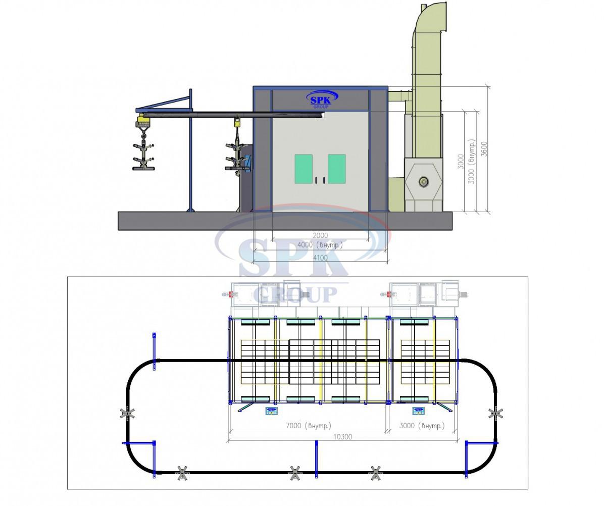 Проходной покрасочно-сушильный комплекс для нефтяного и нефтегазового оборудования  SPK-10.4.3
