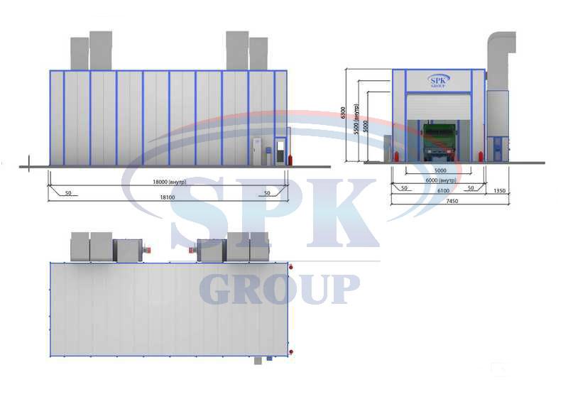 Окрасочно-сушильная камера SPK-18.6.6